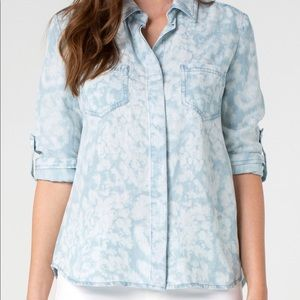 NWT Liverpool White Cloud Button Up Top